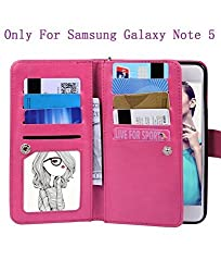 Galaxy Note 5 Wallet Case , TaoFilm Pro Premium PU Leather Wallet Bag Case [2 in 1 Magnetic Detachable Back Cover Flip] [ 9 Card Slots] [Wrist Strap] For Samsung Galaxy Note 5 (Rose)