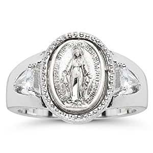 catholic ring for sterling silver
