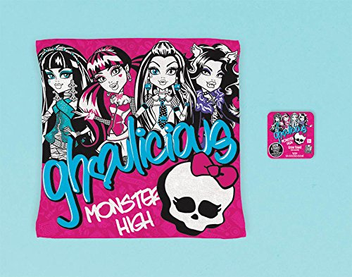 "Amscan Freaky Fab Monster High Birthday Party Favor Grow Towel (1 Piece), Hot Pink/Blue/Black/White, 9 2/5 x 9 2/5"" - 1"