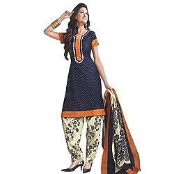 V-Kart Women's Cotton Unstitched Dress Material (Vkart_342_Grey_Free Size)
