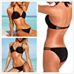 Hot New 2PCS Black sexy Women Padded...
