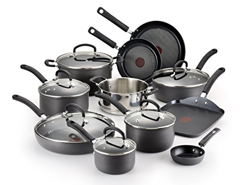 T-fal E765SH Ultimate Hard Anodized Scratch Resistant Titanium Nonstick Thermo-Spot Heat Indicator Anti-Warp Base Dishwasher Safe Oven Safe PFOA Free Cookware Set, 17-Piece, Gray (Pan Set Anodized compare prices)