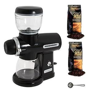 KitchenAid KPCG100OB Pro Line Burr Grinder Coffee Mill (Onyx Black) + (2) Capresso Grand Aroma Whole Bean Coffee (Espresso + Swiss Roast Regular) + Harold Import Coffee Measure