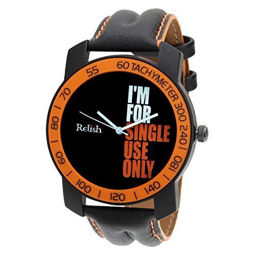 Relish-570 Stylish Orange & Black Case Analog Watches For Mens & Boys