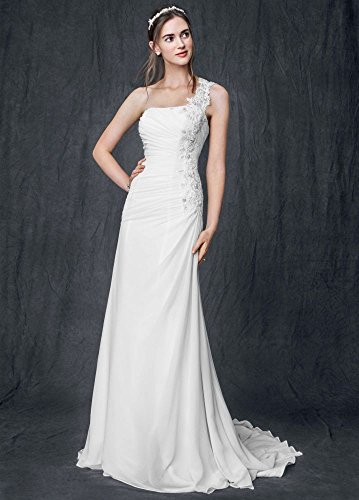 SAMPLE: One Shoulder Chiffon Wedding Dress with Floral Appliques Style...