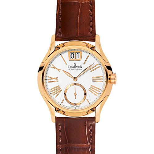 Charmex St. Tropez 2240 42mm Gold Plated Stainless Steel Case Brown Calfskin Synthetic Sapphire Men's Watch