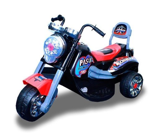 New Battery Powered Kids Ride On Toy Chopper Motorcycle Car 3 Wheel (Black)
