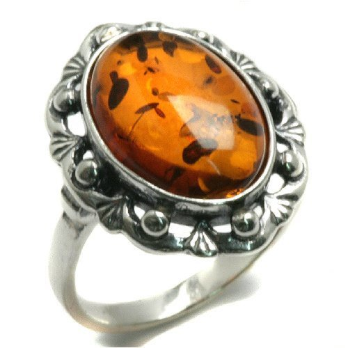 Honey Amber and Sterling Silver Classic Ring Sizes 5,6,7,8,9,10,11,12
