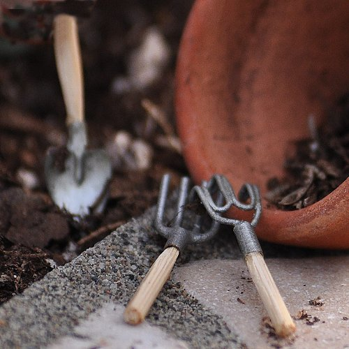 Miniature Fairy Garden Garden Hand Tools, 3 Pieces