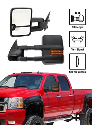 2007-2013 Chevy Silverado / GMC Sierra New Style Towing Mirrors Pair Set Manual Glasss With Convex Lens & Amber LED Turn Signal Black Housing (2007 Chevy Silverado Tow Mirrors compare prices)