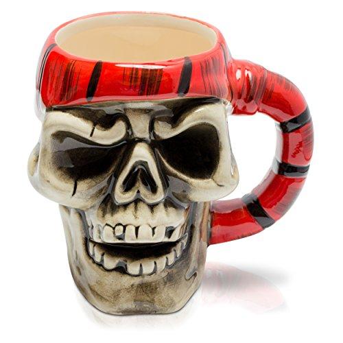 """VENKON - Brocca di Pirata """"Capitano Jack"""" Tazza nel Designò del Cranio - 300 ml - per Bevande Calde e Fredde"""