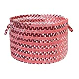 Colonial Mills Rag-Time Cotton Blend Utility Basket, 14 by 10-Inch, Pink/Red