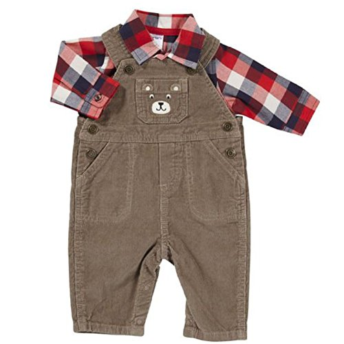 Carters Infant Boys Brown Corduroy Bear Outfit with Overalls & Red Plaid Shirt