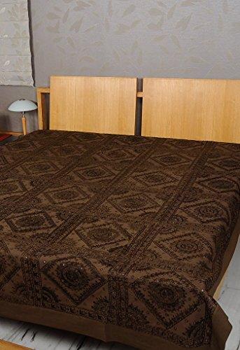 Imagen 6 de Tamaño de rosca doble bordado y trabajo Mirror Brown Colcha de algodón de tamaño 86 x 102 pulgadas