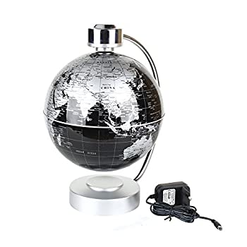 "Magnetic Levitation Floating World Map Globe, 8"" Rotating Planet Earth Globe Ball with LED Desk Display Stand -Elegance Levitation Globe Gift for Kids Home Office[Black]"