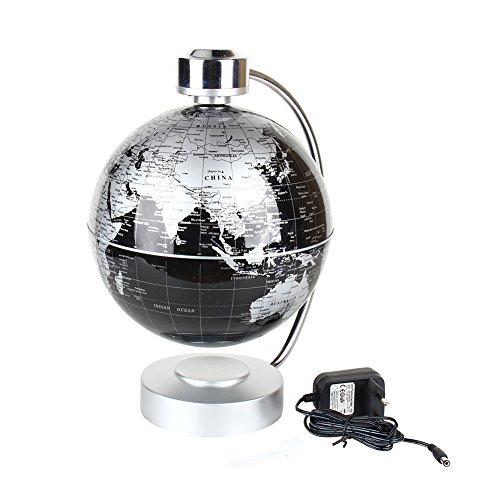 "Magnetic Levitation Floating World Map Globe, 8"" Rotating Planet Earth Globe Ball with LED Desk Display Stand -Elegance Levitation Globe Gift for Kids Home Office[Black] 1"
