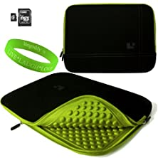 buy 15 Inch Notebook Accessories By Sumaclife Onyx With Toxic Green Trim Drumm Neoprene Sleeve Carrying Case For Dell Xps 15 (Including Z Models) 15 Inch Notebooks + 16Gb Micro Sd Card And Adaptor + Vangoddy Live+Laugh+Love Wristband