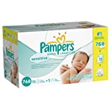 Pampers Sensitive Wipes 12x Box With Tub 768 Count (Packaging May Vary)