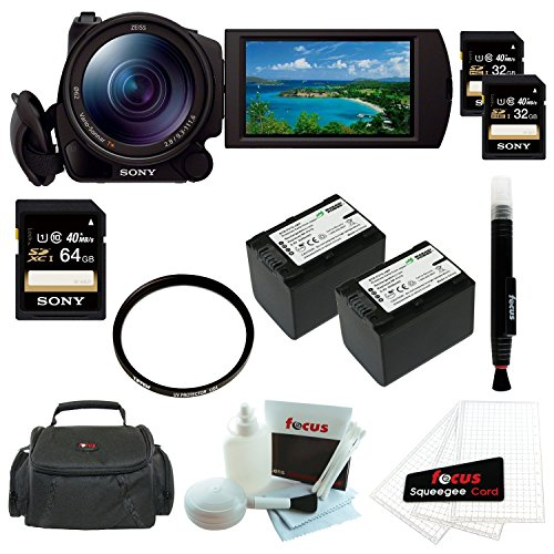 """Sony HDRCX900/B HD Video Camera w/ 1"""" sensor + Sony 32GB SD Card (Two) + Sony 64GB SD Card + Tiffen 62mm UV Filter + Two Wasabi Power Replacement Battery for Sony NP-FV70 + Accessory Kit"""