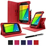 rooCASE Google Nexus 7 FHD 2nd Gen Tablet Dual-View Folio Case Cover - Red (with Pen Stylus) Nexus 7 2 2013 Model