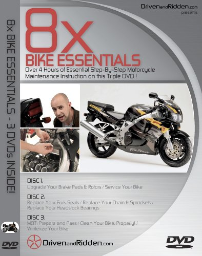 8x BIKE ESSENTIALS - MOTORCYCLE MAINTENANCE TRIPLE DVD - OVER 4 HOURS!