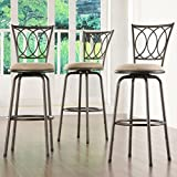 Home Creek Scrolled Detail Adjustable Swivel Barstools - Set of 3