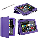 "i-BLASON Kindle Fire HD 7"" inch Tablet Leather Case Cover / Stylus (16GB WiFi) 3 Year Warranty (Purple)"