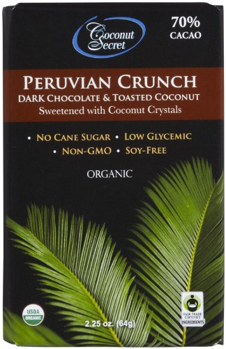 Coconut Secret Organic Peruvian Crunch Dark Chocolate & Toasted Coconut -- 2.25 Oz