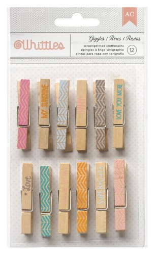 American Crafts 12 Count Whittles Giggles Clothespins For Scrapbooking