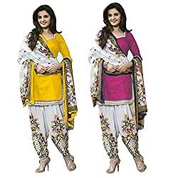Janasya Women's Unstitched Polyester Dress Material COmbo (Yellow & Pink)