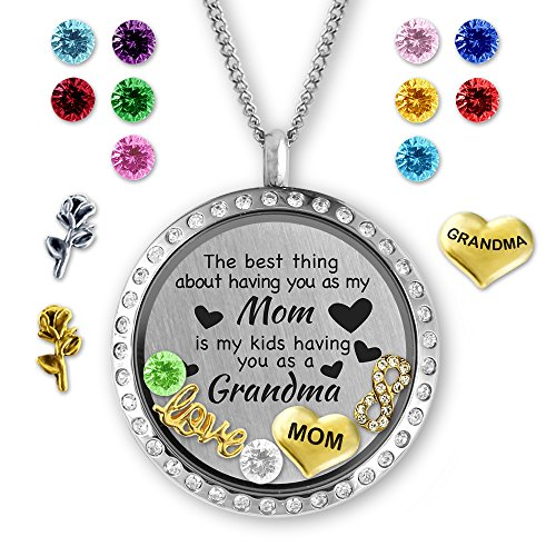 Unique for Grandma Gifts, Perfect Gift for Mom Birthstone Necklace, Floating Charm Locket for Mom Gifts