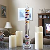Lily's Home 17 inch Galileo Thermometer, with 10 Multi Colored Spheres in Fahrenheit and Gold Number Tags