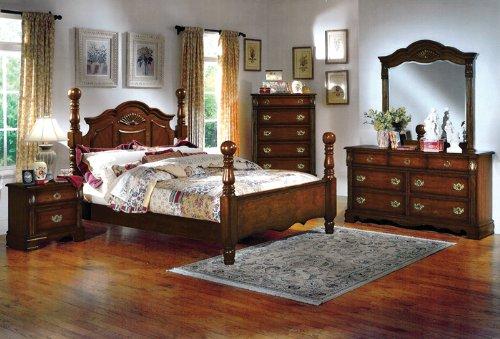 homes dark pine wood queen size cannonball bed bedroom set