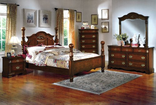 Dark Pine Wood Queen Size Bed Bedroom Furniture Set