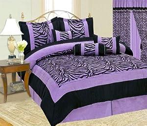 full queen short fur black purple zebra