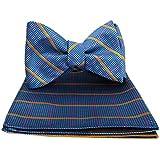 Aqua Pink Orange - XL Self Tie Bow Tie Hanky