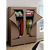 Double Door Portable Wardrobe Closet Clothes Rack Storage Organizers Brown