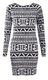 Womens Long Sleeves Tribal Aztec Print Bodycon Dress