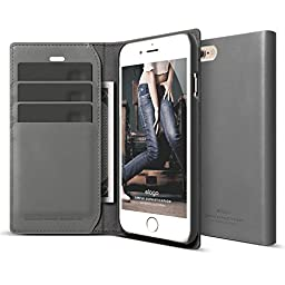 iPhone 6S Case, elago® [Genuine Leather Wallet][Dark Gray] - [3 Card Slots][Cash Pouch][Premium Genuine Leather] - for iPhone 6/6S