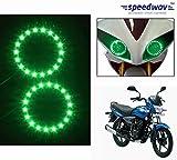 Speedwav Bike Headlight Angel Eyes LED Set Of 2 GREEN-Bajaj Platina 100