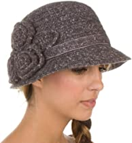 EH5841LC - Sakkas Womens Vintage Style Cloche Bucket Bell Hat with Flower Accent - Gray/One Size