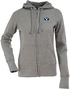 Brigham Young Ladies Zip Front Hoody Sweatshirt (Grey) by Antigua