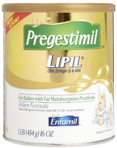Enfamil Pregestimil Lipil Hypoallergenic Infant Formula Powder with MCT Oil, Iron Fortified, 16-Ounce Canisters (Pack of 6)