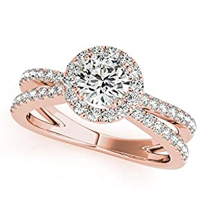 Halo Diamond Frame Engagement Ring w/ Accented Split Shank, Prong Set Diamonds in 14k Rose Gold 1.25ct