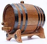 2 Liter Golden Oak Barrel for Whiskey, Wine, Rum, Bourbon, Tequila and Beer - Black Steel Hoops | 30 page Aging Guide | Vinyl Barrel Decals | Paper Funnel | No Leaks Guarantee