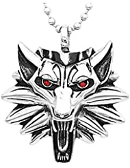 Phenovo Silver Tone Fashion Men's Biker Stainless Steel Wolf Pendant Necklace Chain