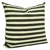 Benfan Canvas Square Decorative Throw Pillow Case Pure Cotton Cushion Cover Dark Olive Green Stripe 18inch