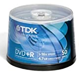 TDK DVD+R 4.7GB 16X 50 CAKEBOX