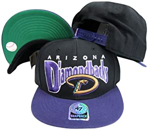 Arizona Diamondbacks Black Purple Two Tone Plastic Snapback Adjustable Plastic Snap... by Twins
