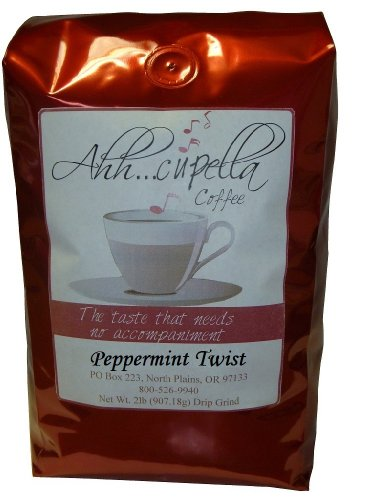 Ahh..Cupella Premium Gourmet Peppermint Twist Flavored Whole Bean Coffee, 16oz bag